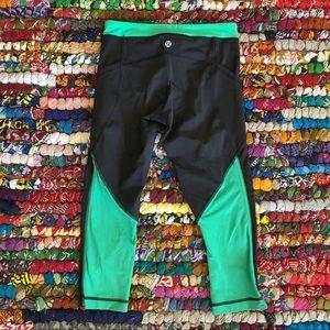 Lululemon Crop Black and Green Mesh Leggings